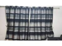 Black grey/silver eyelet curtains with 4 x matching cusion covers