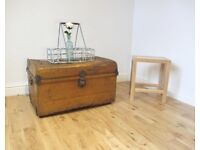 Vintage Metal Travelling Trunk / Coffee Table / Storage Chest