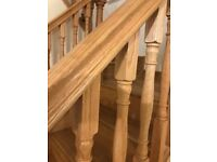 15 Brand new Richard Burbridge solid oak staircase spindles Edwardian style with hand and base rail