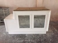 Retail cash desk, glass topped, Good condition