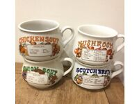 4 x Lovely vintage/retro recipe soup mugs / cups