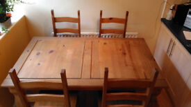 Corona Mexican solid pine dining table and four chairs