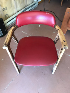 vintage solid wood/red vinyl chair, $10