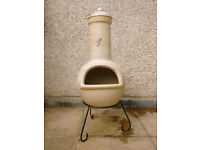 Chimenea - with stand, barbeque accessory and protective cover.