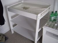 White baby changing station.