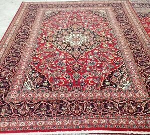 Kashan Persian Rug,Approx 10 x 7Ft,Red,Navy Blue,Beige