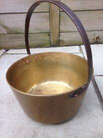 Vintage antique brass jam jelly preserving preserve pan