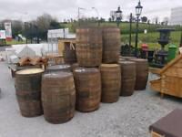 Original heavy oak whiskley barrels planters garden furniture bars pubs beer discos clubs
