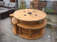 Cable reel drum garden table and benches