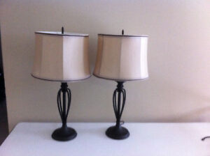 Pair of Table Lamps, Black Metal Bases with Shades Like New