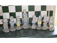 vintage 1950s - 1960s garden concrete Snow White and The Seven Dwarfs Figurines