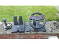 Computer steering wheel, joystick and pedals