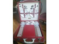 As New - Beautiful Red Vintage Brexton Picnic Case