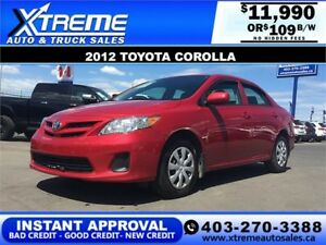 2012 Toyota Corolla $109 bi-weekly APPLY NOW DRIVE NOW