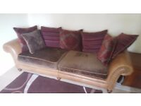 Two nearly new four person and two person Carnegie real leather & fabric pillow back sofas