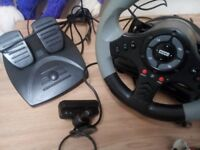 PS3 camera, steering wheel with foot pedal