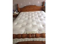 Solid Pine King Size Bed Frame and King Size Mattress