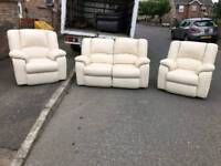 2 1 1 seater sofa in a dear grade of cream leather Hyde throughout(all reclining )