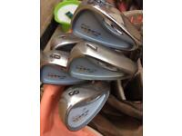 Ladies set of king cobra 3100 I/h golf clubs with woods and salmon golf bag
