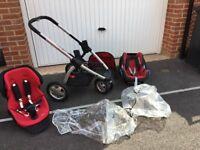 Maxi Cosi Muri (3 Wheeler) pushchair with Pebble Car Seat and rain covers