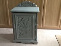 Grey shabby chic cupboard . Strong and useful as bedside table or lamp table.