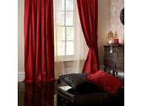 """Luxury silk Curtains. BRAND NEW. Ruby Red. Catherine Lansfield. 90x108"""". RRP £65"""