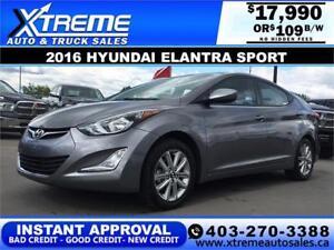 2016 Hyundai Elantra Sport Sunroof $109 b/w APPLY NOW DRIVE NOW