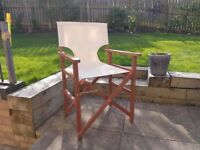 6 folding directors chairs wooden with cream canvas - SOLD