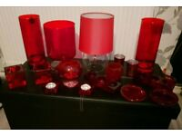 Red lamp/red vase/red candle holders etc