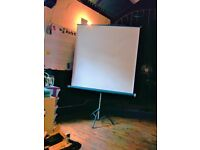 MOVIE PROJECTION SCREEN £30. ON PULL UP AND ROLL DOWN EXTENDING STAND. SCREEN MINIMUM 126CM SQUARE.