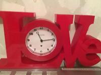 'Love' Shaped Clock - Red BRAND NEW