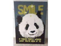 'SMILE' Panda Canvas Picture
