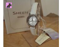 Casio SHE-4036L-7AUDR Ladies Sheen White Strap with Swarovski Elements RRP: £85.00