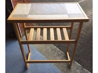 Console / side table wood and marble effect