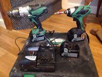 Hitachi Impact Driver and Hammer Drill combo 18v 4ah