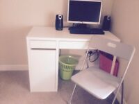 Ikea white computer desk and chair , good condition