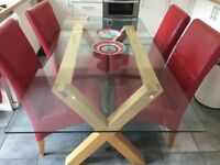 Oak/Glass Dining Table and 4 Red Leather Chairs