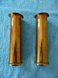 WW1 or WW2 Brass Shell casings adapted as flower specimen stands.