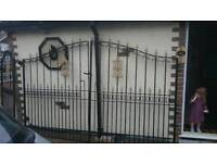 10' double + 3' side wrought iron gates with steel posts