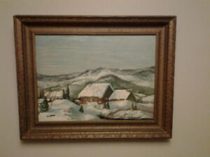 """VINTAGE  QUEBEC ART- COLLECTIBLE OIL PAINTING"""