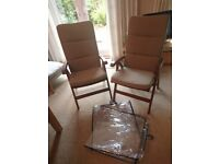 Pair of Hardwood Garden Chairs complete with cushion covers and protectors