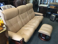 Stunning Ekornes Stressless 3 Seater Sofa and Foot Stool made in Norway - Mint Condition