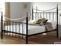 Black and chrome double bed frame and mattress
