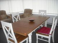 Oak top adjustable dinning table and four chairs