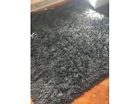 Large Black Shaggy Rug