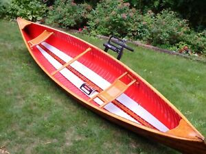 Classic vintage Peterborough longitudinal cedar strip canoe