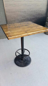 Solid steel base rustic bar table