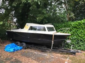 20ft Cabin Cruiser Boat with Trailer and 80hp Outboard Motor