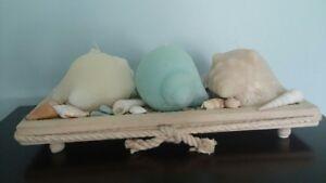 Decorative tray wtih candles and seashells
