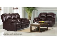 SALE 2/3 SEATER FULL LEATHER RECLINER SOFA
